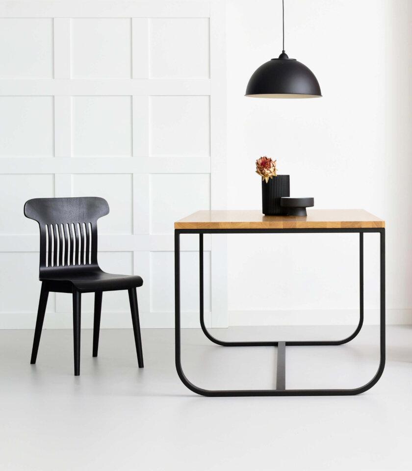 stol industrialny nowoczesny stalowe nogi czarny