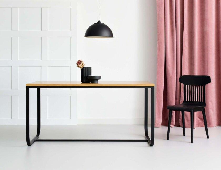stol debowy nowoczesny metalowe nogi polski design