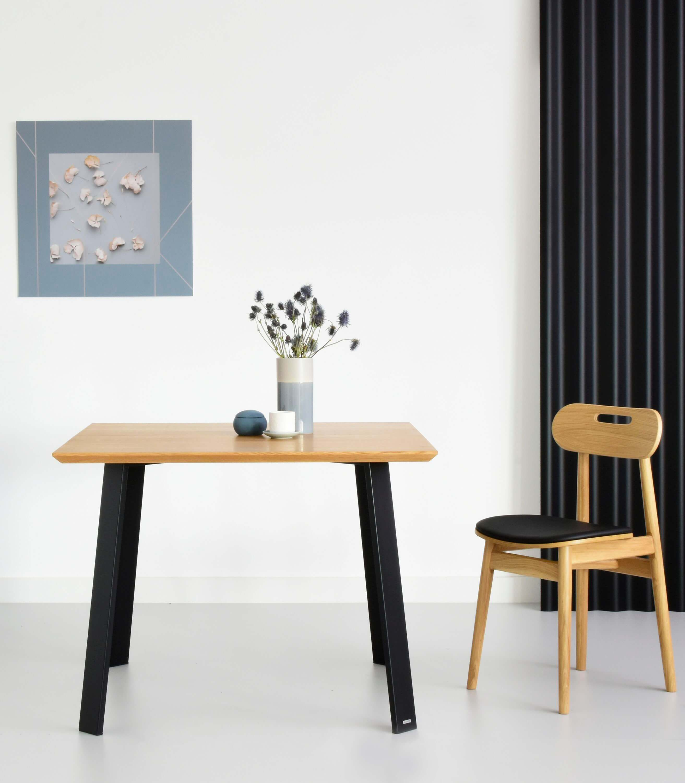 maly stol do jadalni debowy industrialny kwadratowy