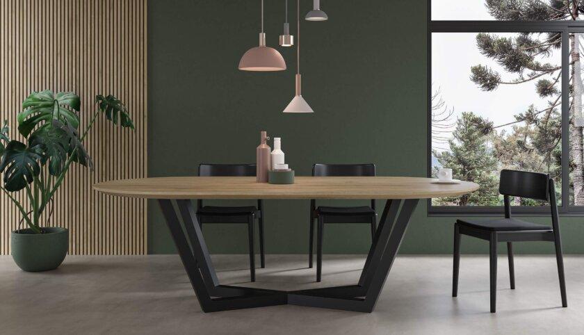 stol owalny do jadalni nowoczesny debowy