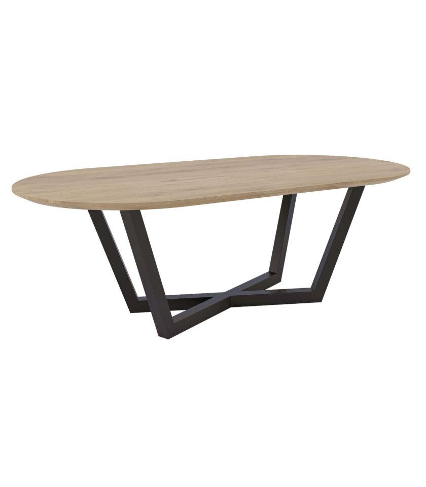 owalny stol owal industrialny drewniany