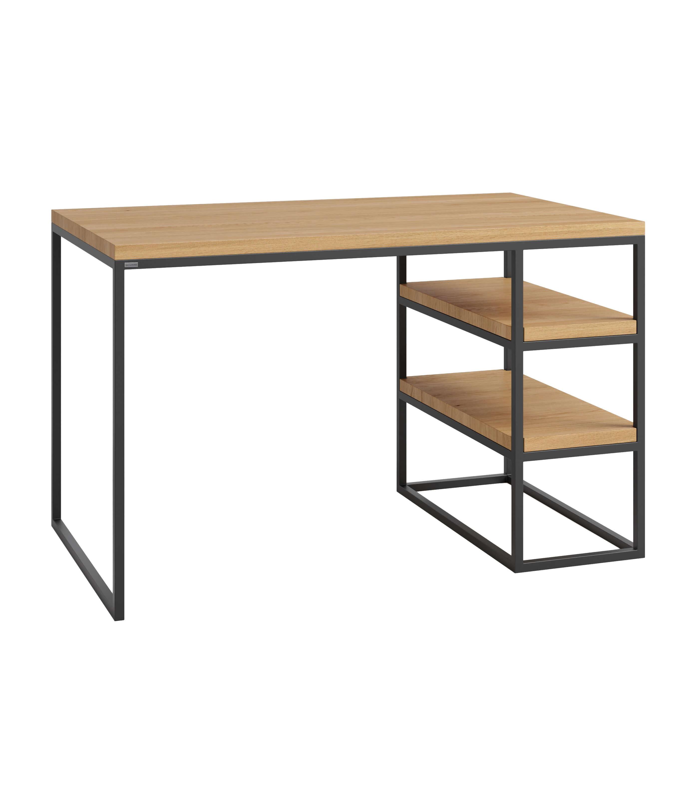 biurko z półkami dębowymi industrialne białe