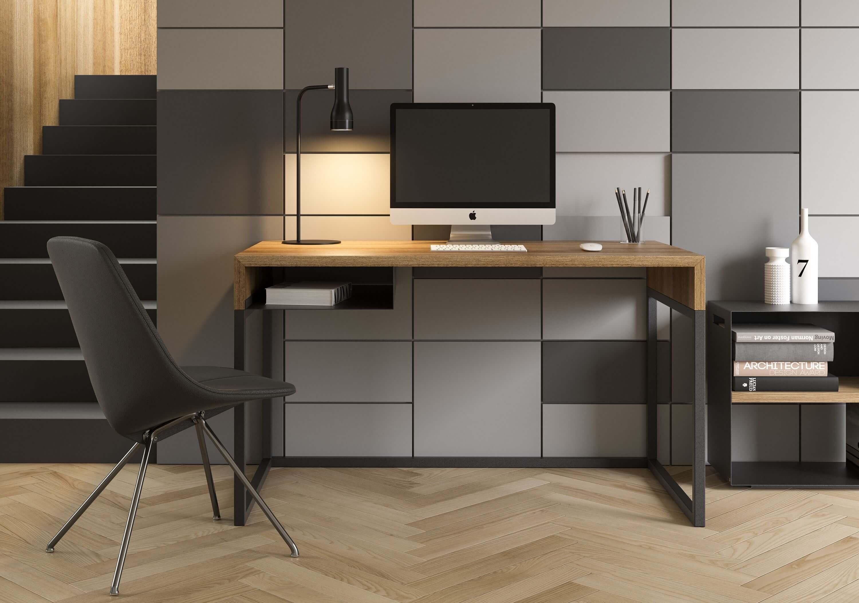czarne biurko w stylu loftowym