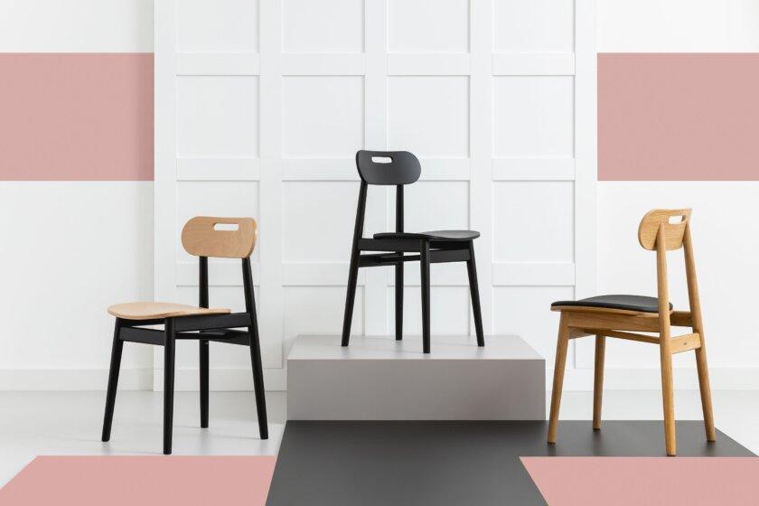 krzeslo debowe tapicerowane w stylu skandynawskim