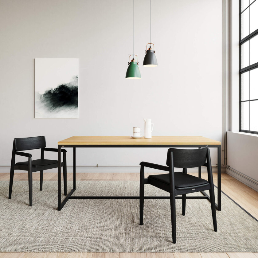 krzeslo czarne drewniane z podlokietnikami