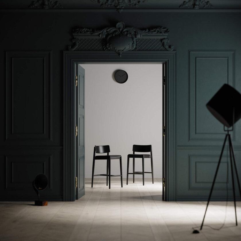 krzeslo barowe czarne drewniane tapicerowane
