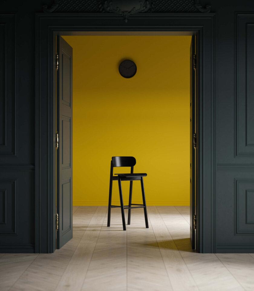 czarne krzesło barowe dębowe