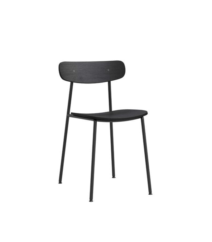 krzeslo minimalistyczne czarne stal dab