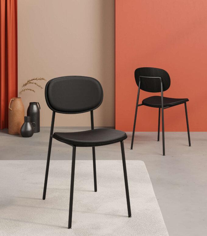 krzeslo tapicerowane czarne minimalistyczne