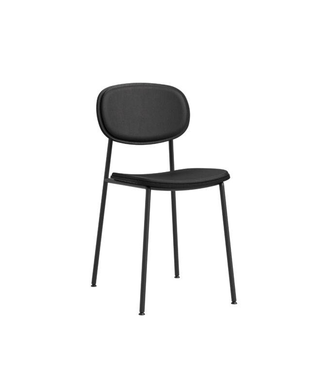 krzeslo czarne tapicerowane minimalistyczne