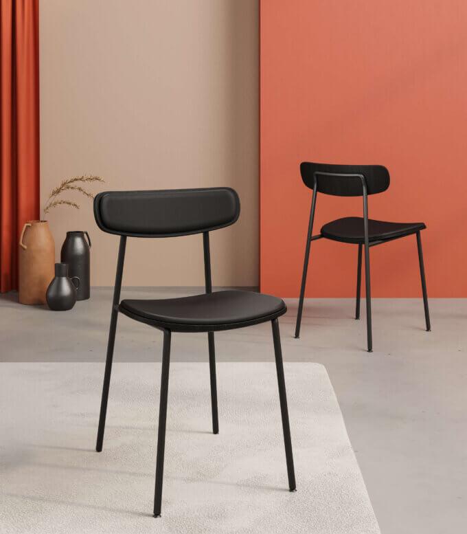 male czarne miekkie krzeslo metalowe