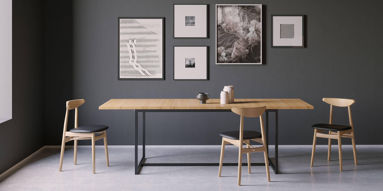 stol rozkladany industrialny stal dab