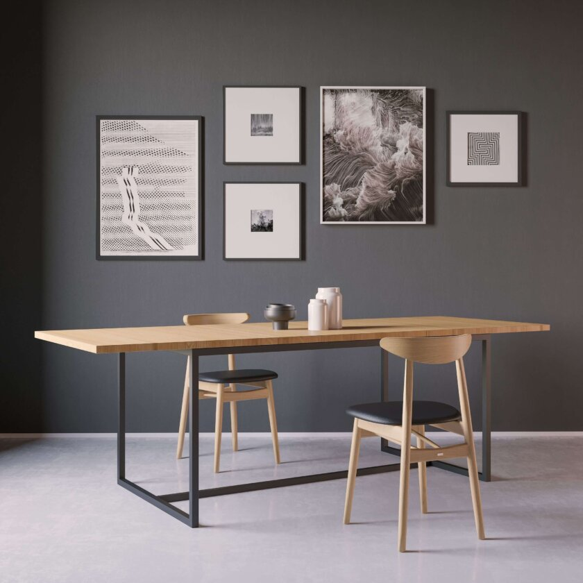 stol loftowy rozkladany stal drewno
