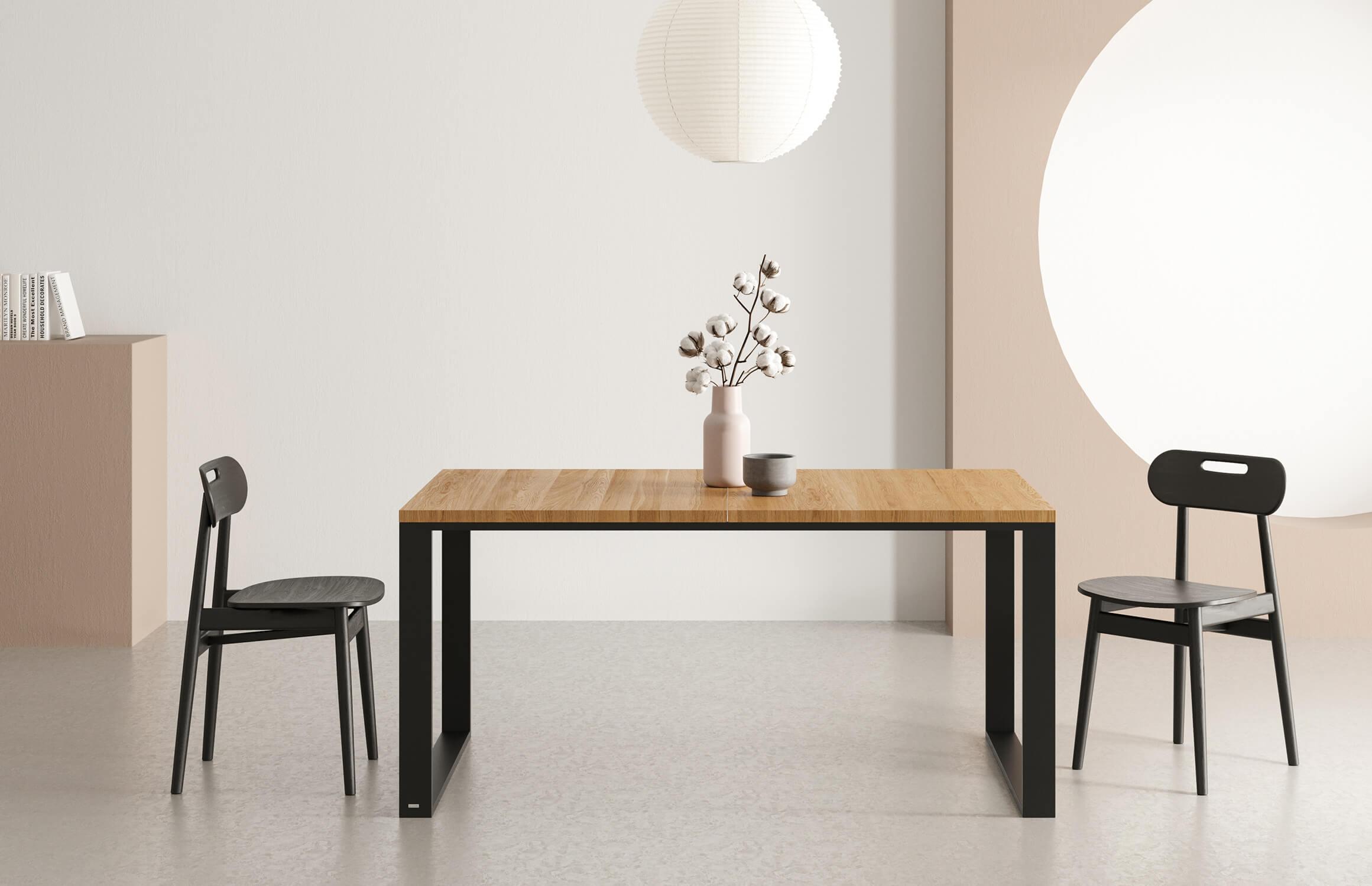 stol rozkladany nowoczesny czarny blat debowy
