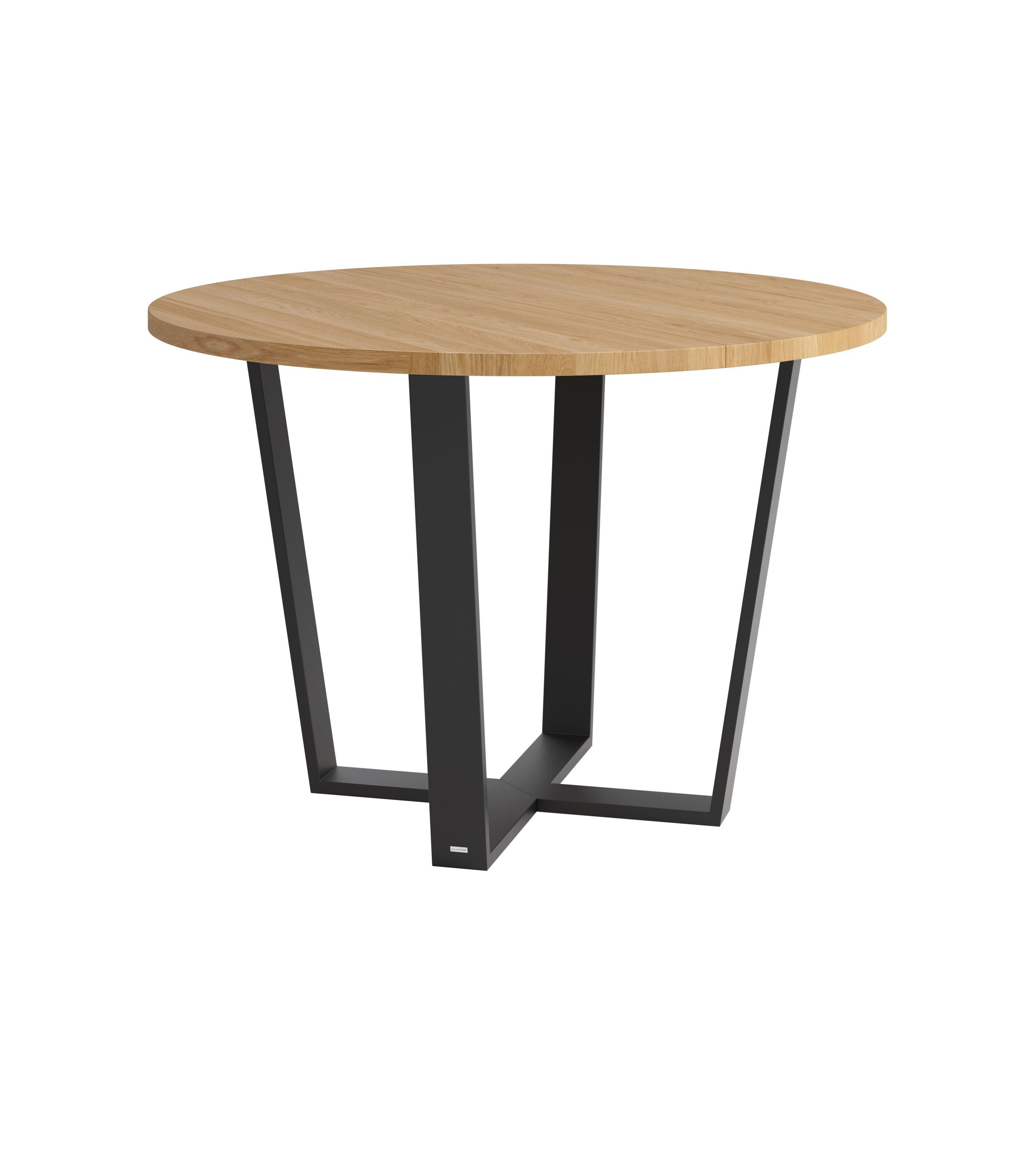 industrialny stół rozkładany okrągły dębowy