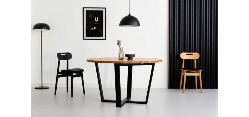 stol okragly rozkladany debowy nowoczesny industrialny