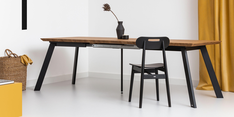 loftowy debowy stol rozkladany stal