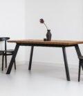 stol loftowy debowy rozkladany czarny metalowe nogi