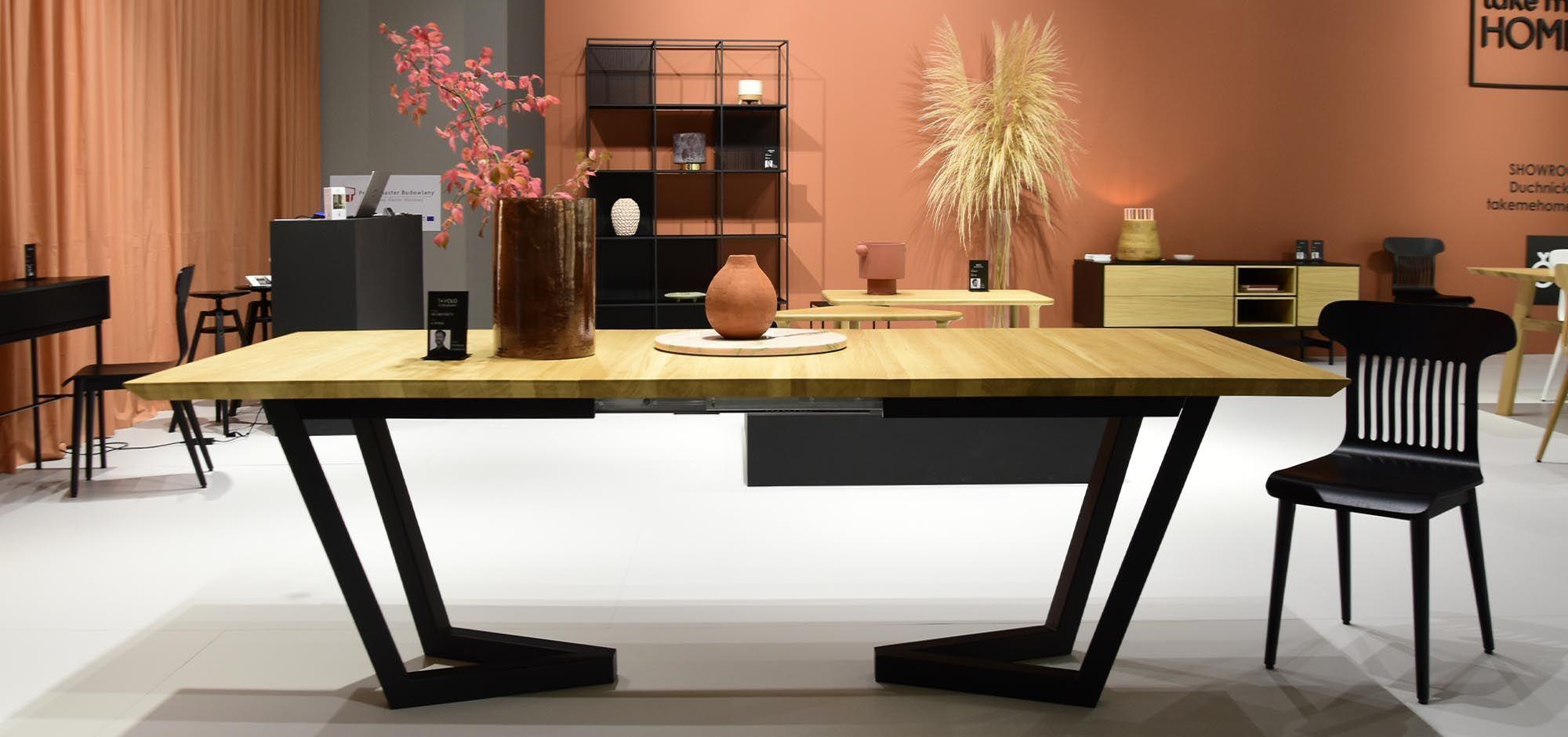 dębowy stół w stylu skandynawskim rozkładany