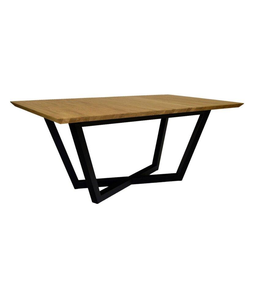 stol rozkladany czarny debowy stal drewno