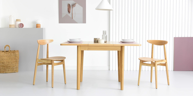 maly debowy stol rozkladany skandynawski styl