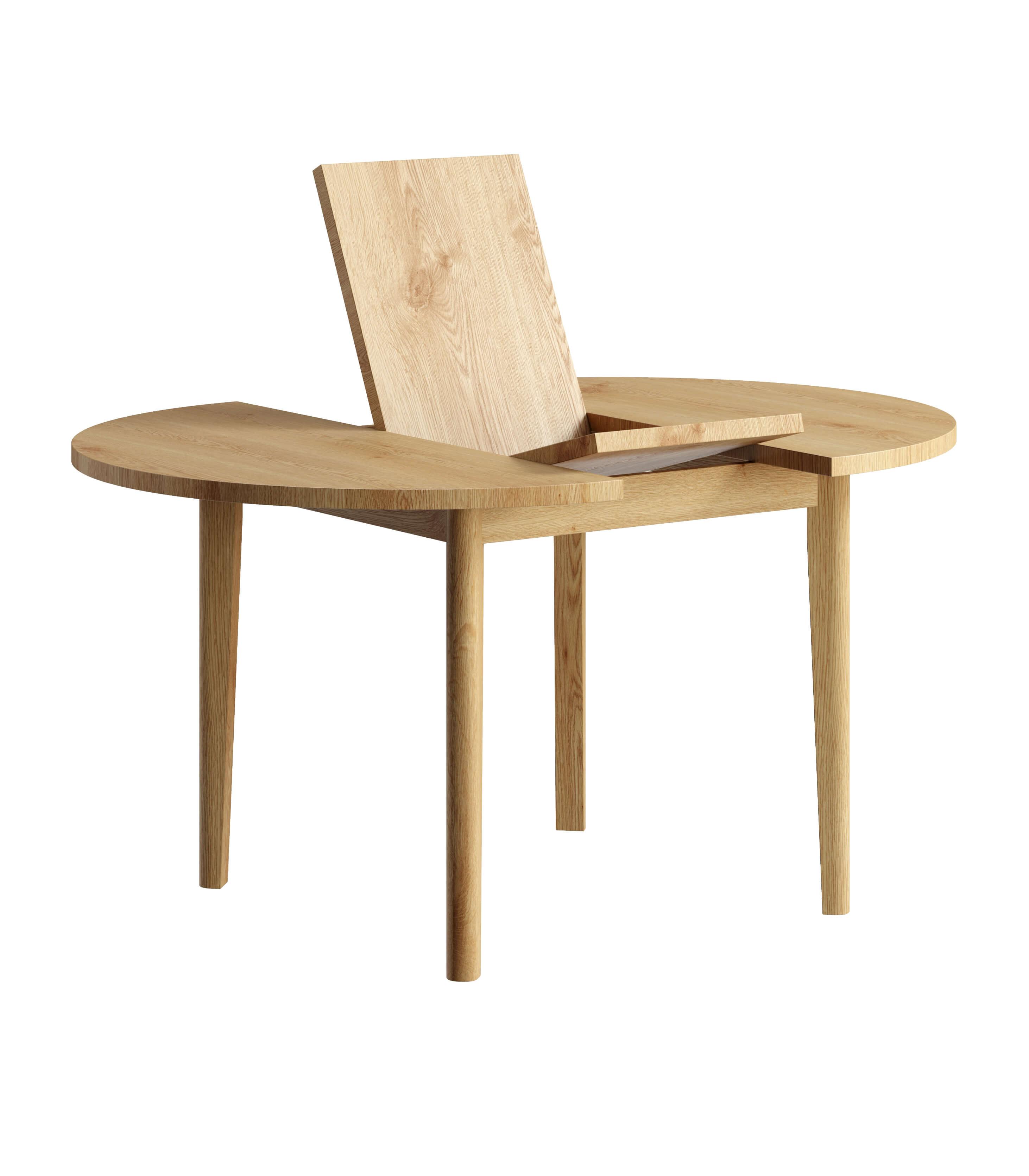 stol okragly rozkladany dab naturalny