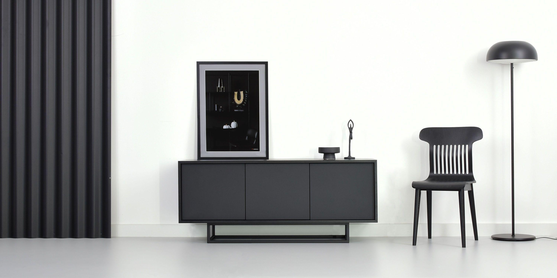 czarna szafka debowa minimalistyczna