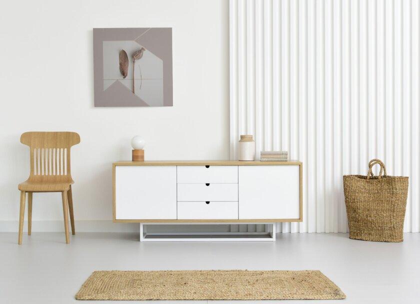 komoda w stylu skandynawskim biala deb naturalny