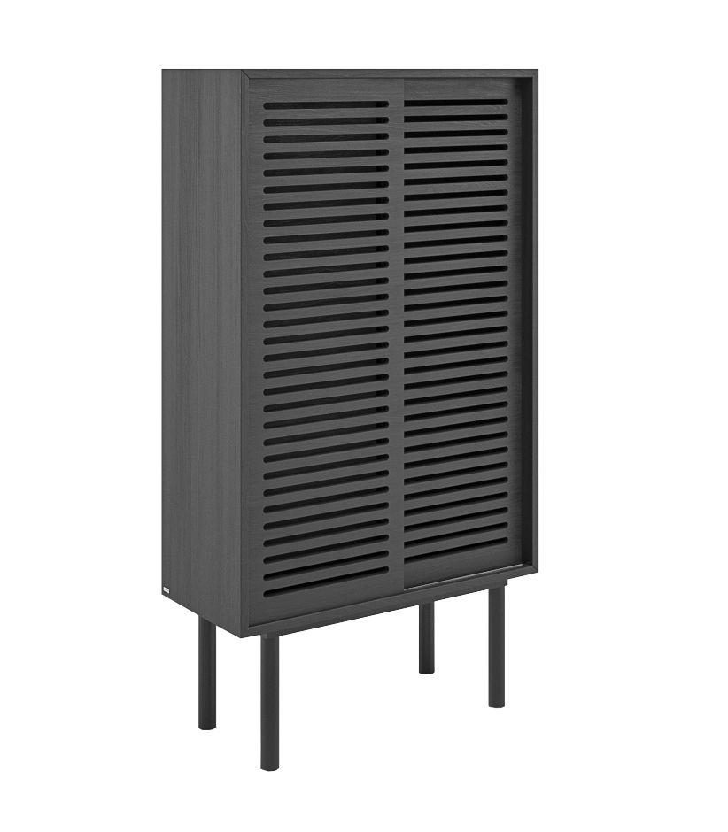 szafka wysoka dębowa czarna z przesuwanymi drzwiami