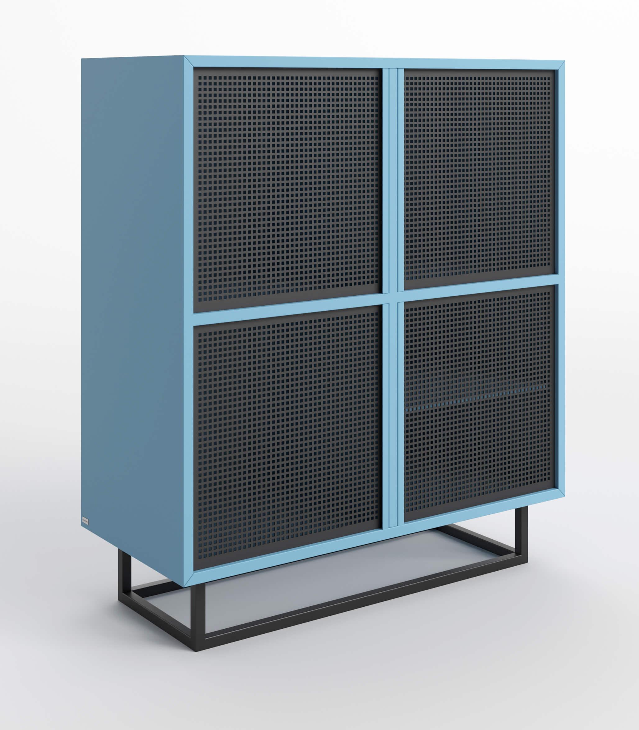 komoda nowoczesna niebiesko czarna