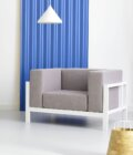 fotel nowoczesny szary bialy