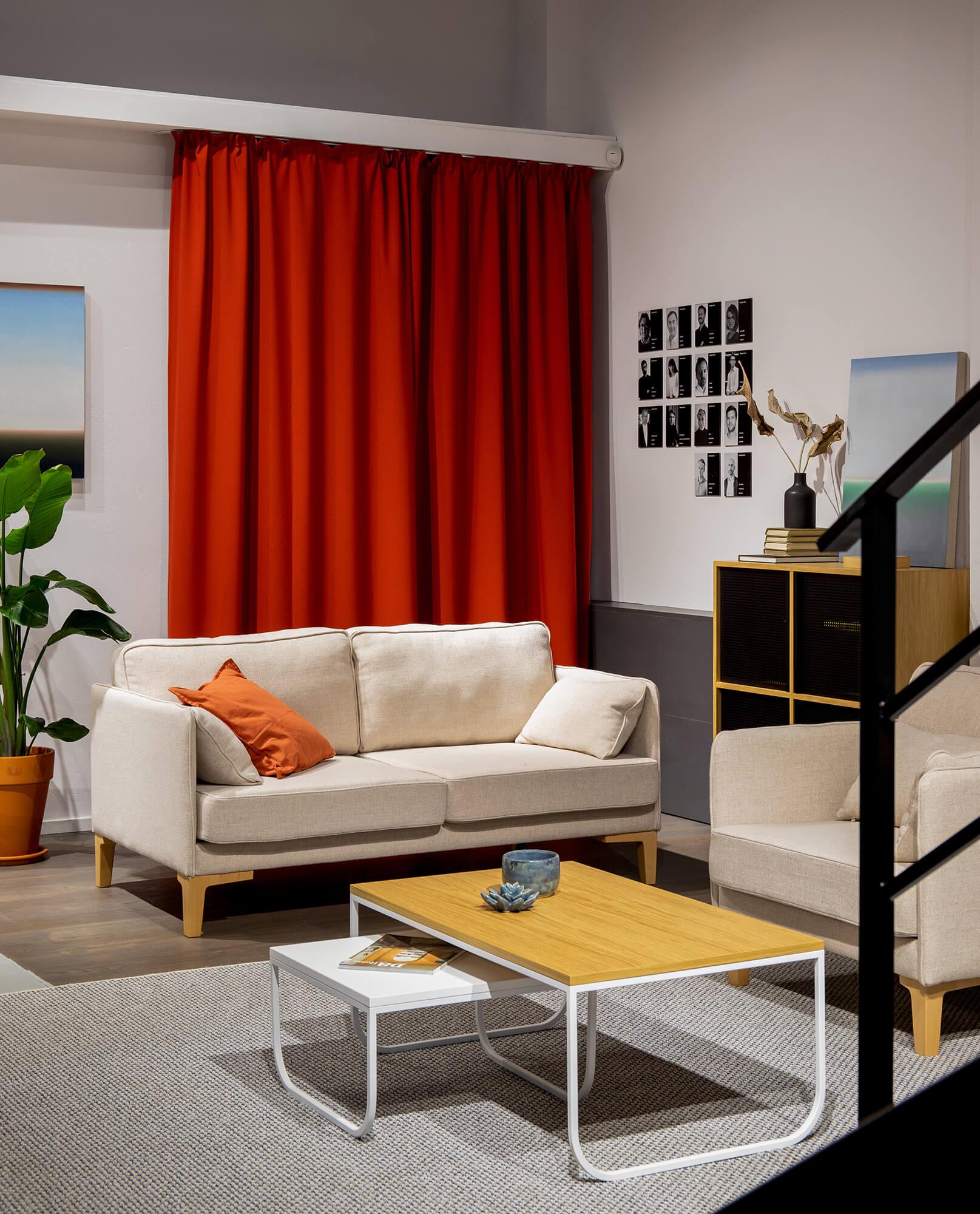 skandynawska szara sofa 2 osobowa mała