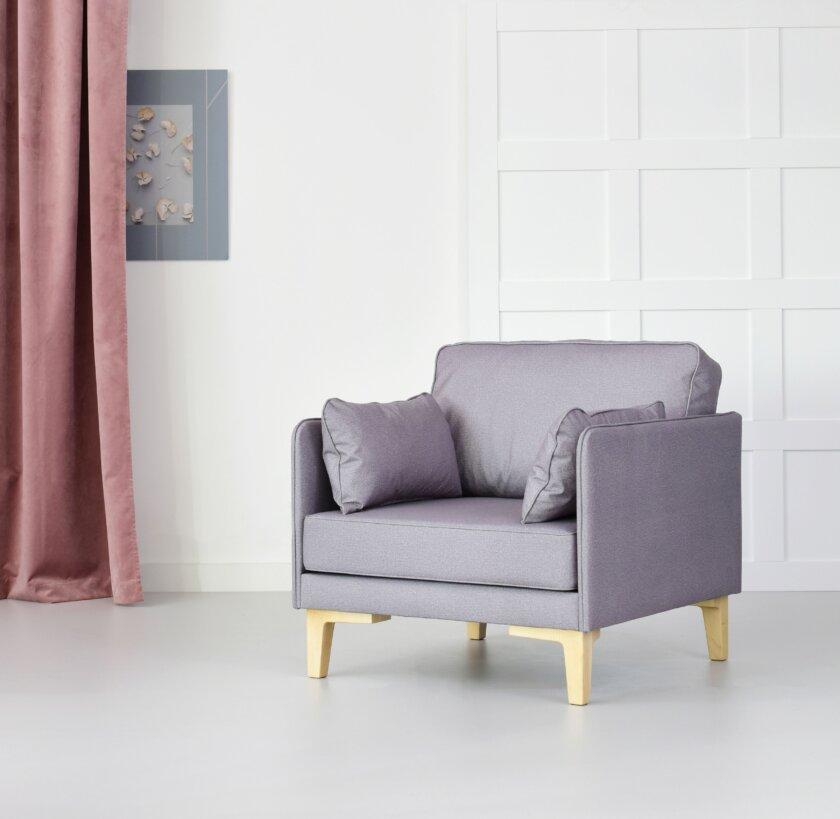 skandynawski fotel nowoczesny szary